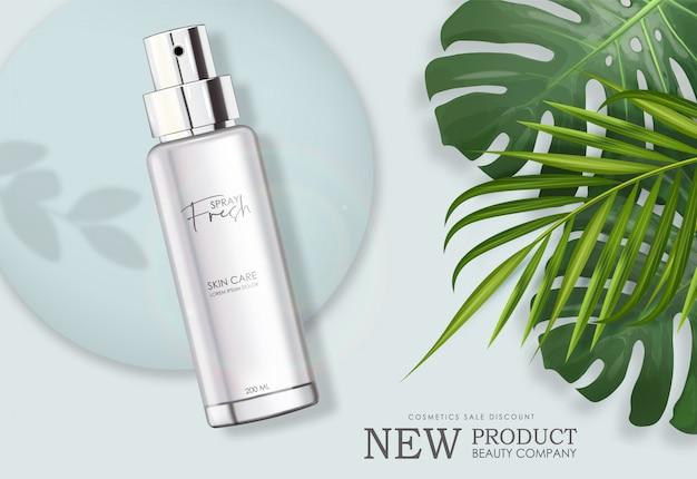 Contenitore isolato per bombole spray realistiche estive, design elegante profumo fresco, confezione con foglia di palma Vettore Premium