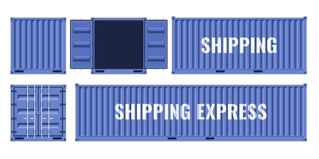 Contenitore metallico blu per trasporto merci da diversi punti di vista. illustrazione vettoriale piatto isolato Vettore Premium