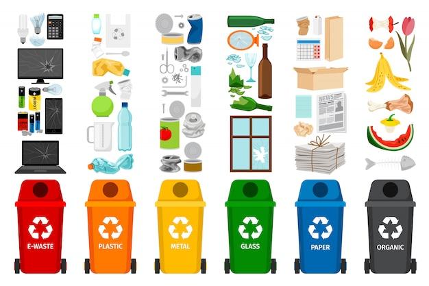 Contenitori dell'immondizia e tipi di icone dei rifiuti Vettore Premium