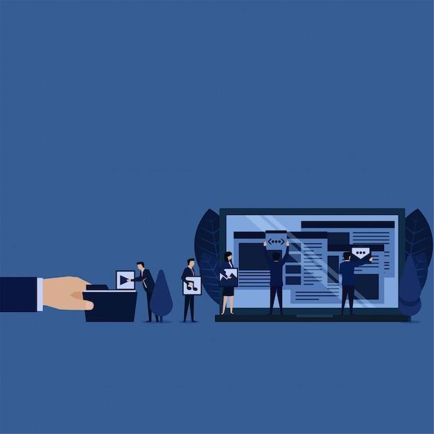 Contenuti di gestione web aziendale per l'ottimizzazione dei motori di ricerca. Vettore Premium