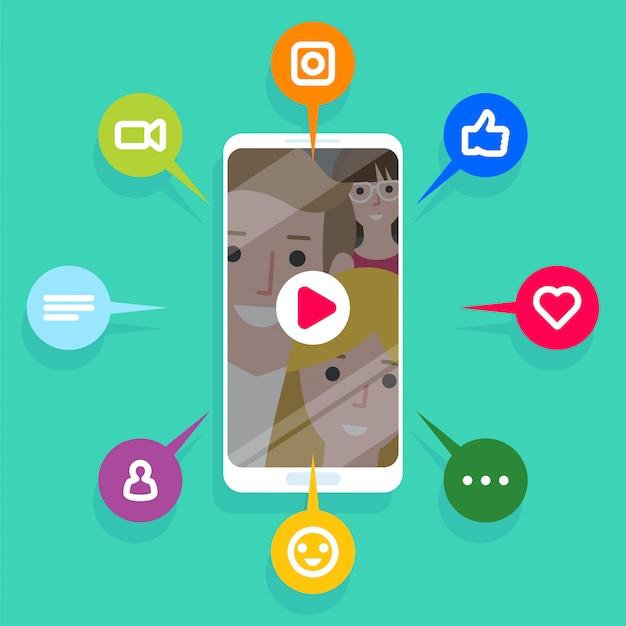 Contenuti virali, mi piace, condivisioni e commenti che compaiono sullo schermo del cellulare Vettore Premium