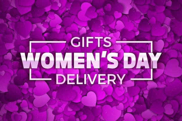Contesto dell'estratto di giorno delle donne di consegna dei regali Vettore Premium