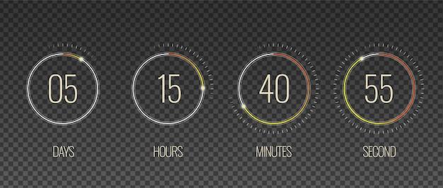 Conto alla rovescia interfaccia set trasparente con simboli di ore e minuti realistico isolato Vettore gratuito