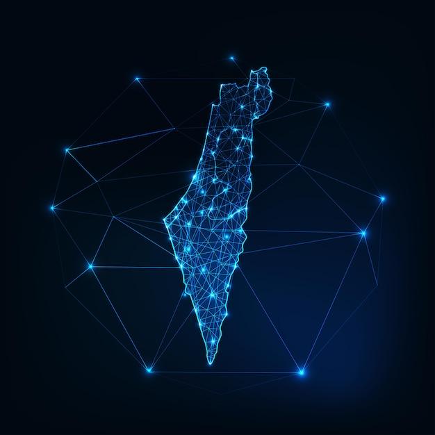 Contorno mappa israele con stelle e linee quadro astratto. comunicazione, connessione Vettore Premium