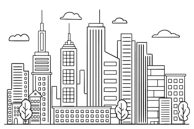 Contorno skyline di punti di riferimento Vettore gratuito