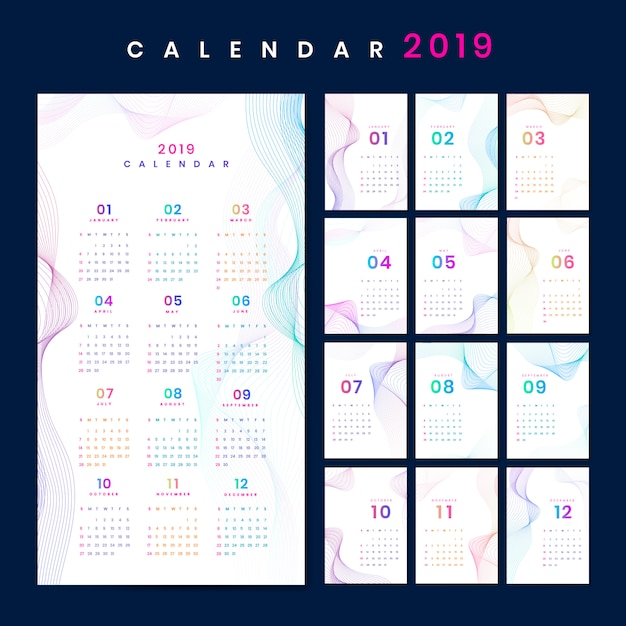 Contour design calendar mockup Vettore gratuito