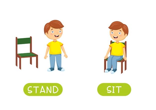 Contrari e contrari si alzano e si siedono. illustrazione dei personaggi dei cartoni animati su bianco. Vettore Premium