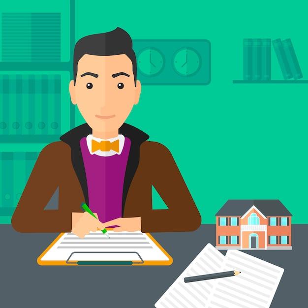 Contratto di firma dell'agente immobiliare. Vettore Premium