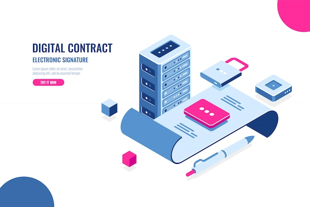 Contratto digitale, firma elettronica Vettore gratuito