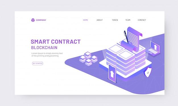 Contratto online isometrico dal concetto di app Vettore Premium