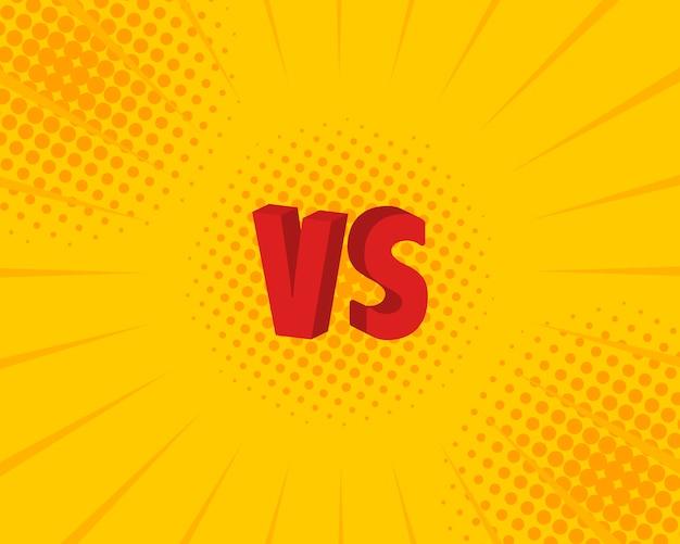 Contro lettere vs combattono in stile fumetto piatto. illustrazione Vettore Premium