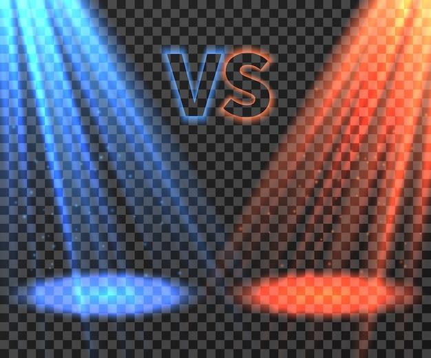 Contro lo schermo futuristico di battaglia con l'illustrazione blu e rossa dei raggi di incandescenza Vettore Premium