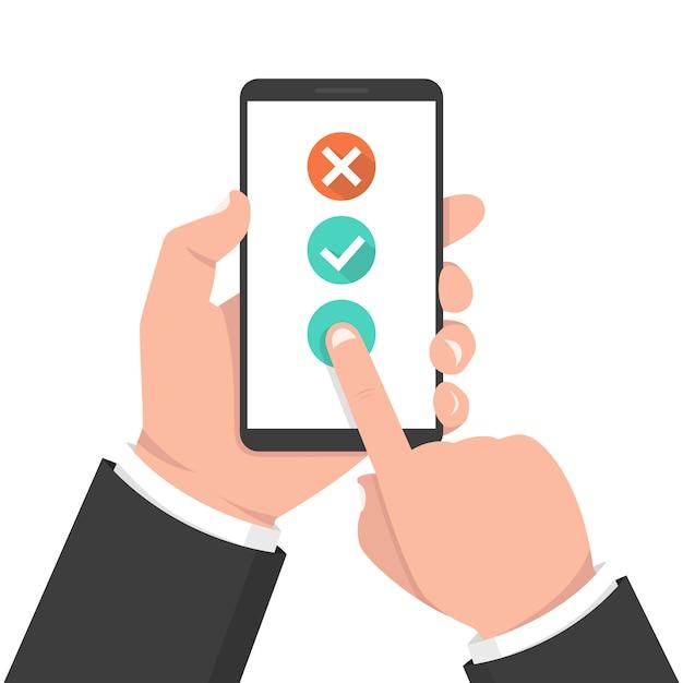 Controlla il pulsante dell'elenco sullo schermo dello smartphone Vettore Premium