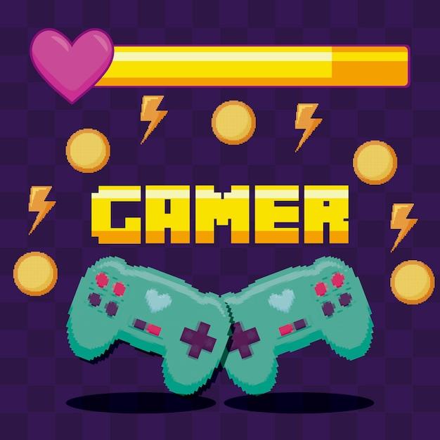 Controlli di videogiochi classici Vettore Premium
