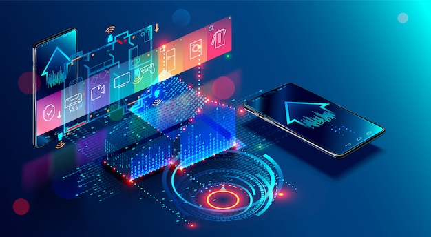 Controllo del sistema di iot. cose su internet nella costruzione di sviluppo e app mobile Vettore Premium
