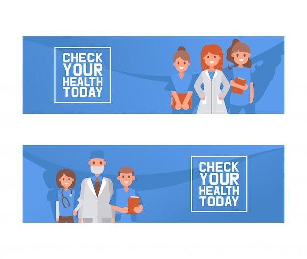Controllo sanitario sul concetto dell'illustrazione di vettore, medici che tengono l'insegna della forma Vettore Premium