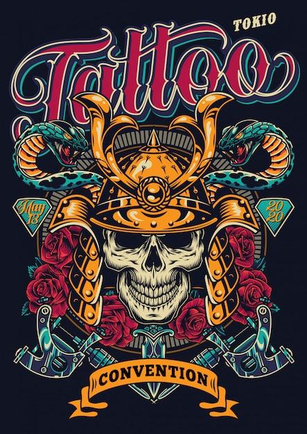 Convenzione del tatuaggio nel poster colorato di tokio Vettore gratuito