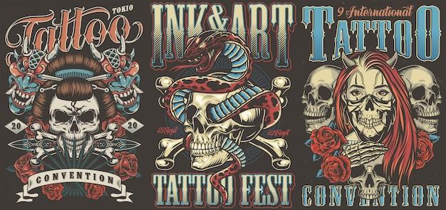 Convenzioni di tatuaggio colorati poster vintage Vettore Premium