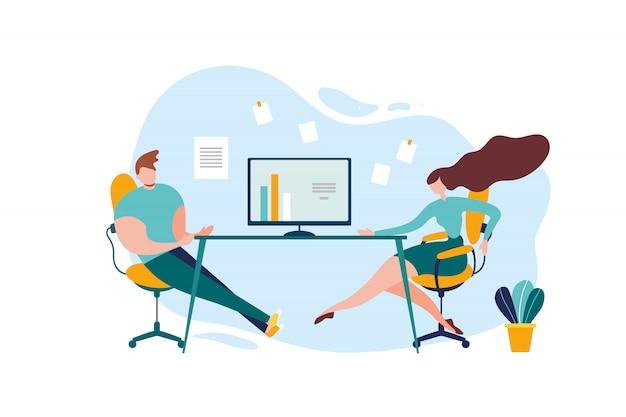 Conversazione della tabella dell'ufficio del lavoratore della donna dell'uomo del fumetto Vettore Premium
