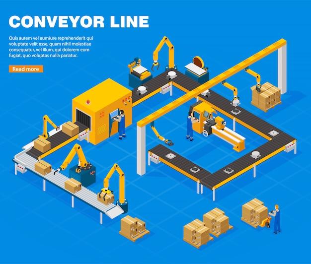 Conveyor line concept Vettore gratuito