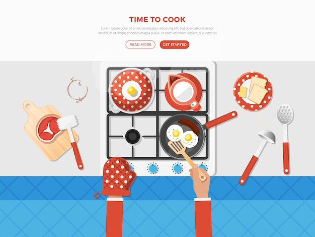 Cooking top view poster Vettore gratuito