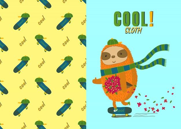 Cool bradipo su skateboard e pattern senza skateboard Vettore Premium