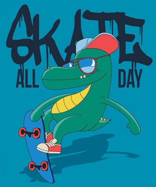 Cool dinosauro skateboard Vettore Premium
