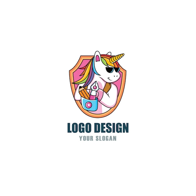 Cool logo unicorn Vettore Premium