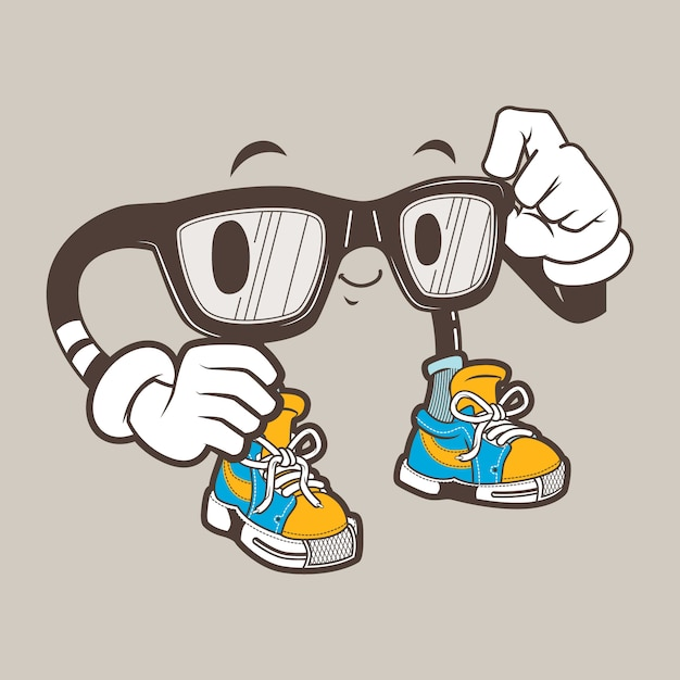 Cool mascotte occhiali nerd Vettore Premium