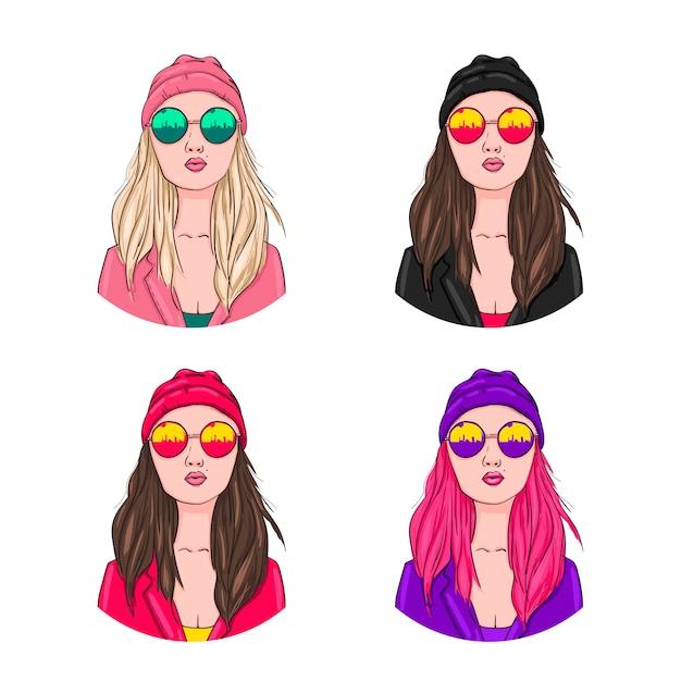Cool ragazza in una collezione di cappello e occhiali da sole Vettore Premium