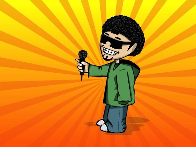 Cool ragazzo cartone animato con gli occhiali da sole
