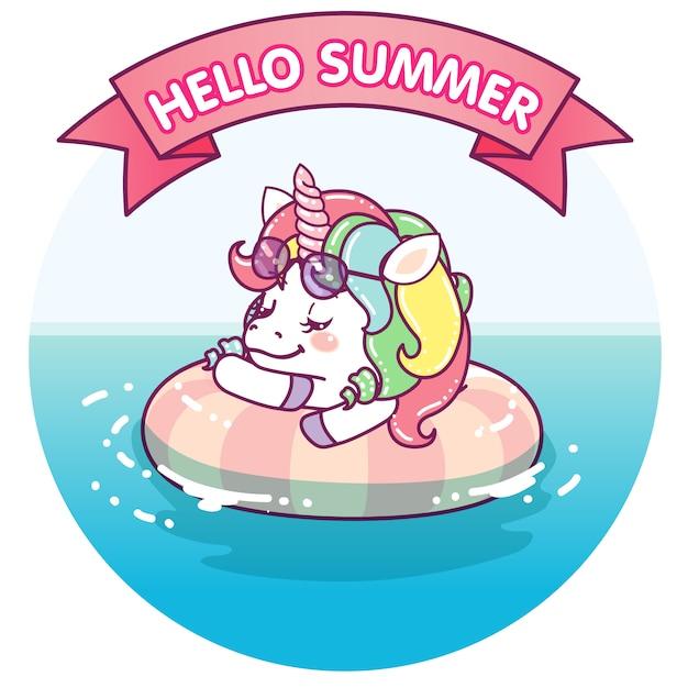 Cool unicorno galleggiante sul mare Vettore Premium