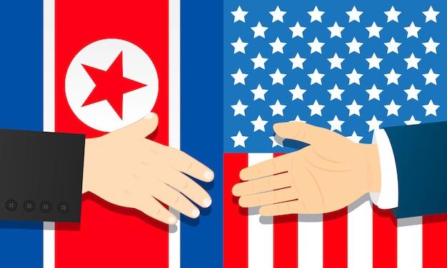 Cooperazione tra la corea del nord e gli stati uniti Vettore Premium