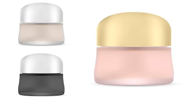 Coperchio metallico in vasetto di plastica bianco opaco rotondo. cosmetico Vettore Premium