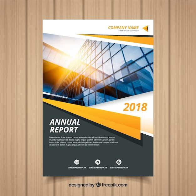 Copertina del rapporto annuale con foto Vettore gratuito