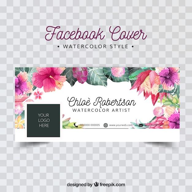 Copertina facebook con fiori di acquerello Vettore gratuito