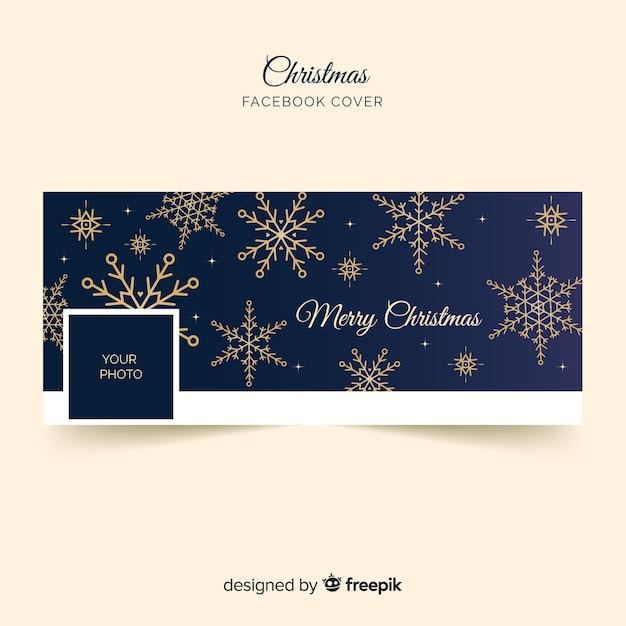 Copertina facebook di natale fiocchi di neve dorati Vettore gratuito