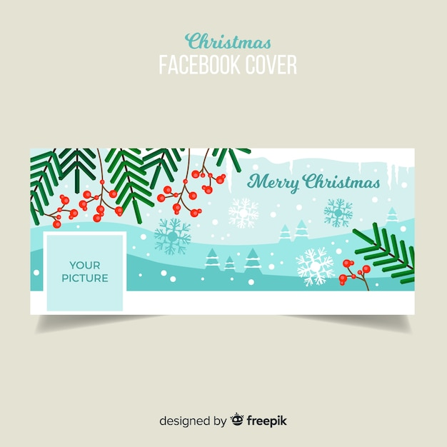 Copertina facebook facebook foglie piatte Vettore gratuito