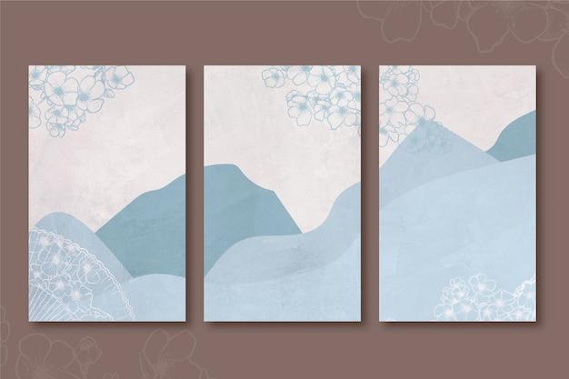 Copertina giapponese minimalista blu di colline e montagne Vettore gratuito