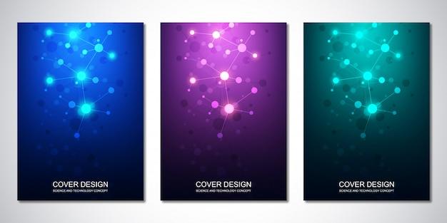 Copertina o brochure, con molecole e rete neurale Vettore Premium