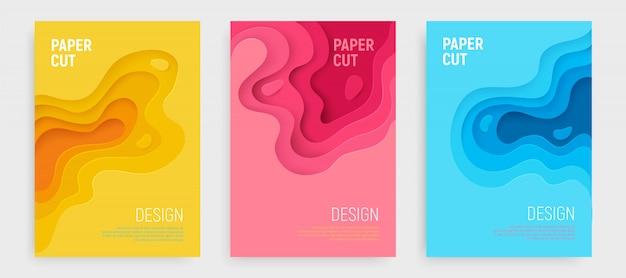 Copertina tagliata in carta con strati di onde blu, rosa, gialle Vettore Premium