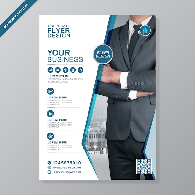 Copertura di affari corporativi a4 e modello di progettazione dell'aletta di filatoio delle icone piane Vettore Premium