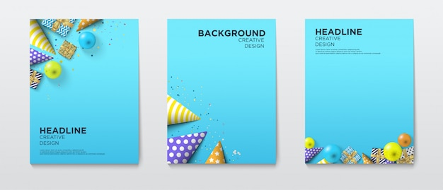 Copertura di buon compleanno con l'illustrazione dei rifornimenti del partito in. Vettore Premium