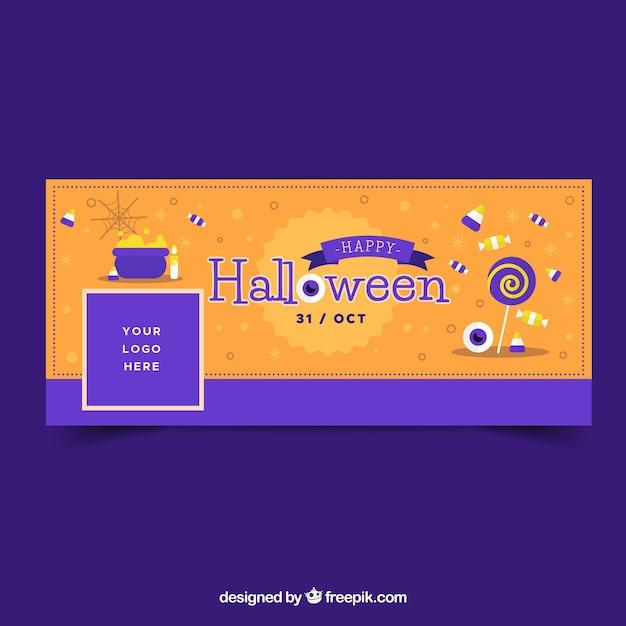 Copertura di Facebook con le caramelle di Halloween Vettore gratuito