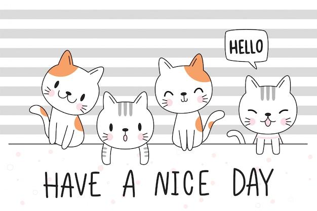 Copertura disegnata a mano adorabile sveglia della carta da parati di scarabocchio del fumetto di saluto della famiglia del gattino del gatto del bambino Vettore Premium