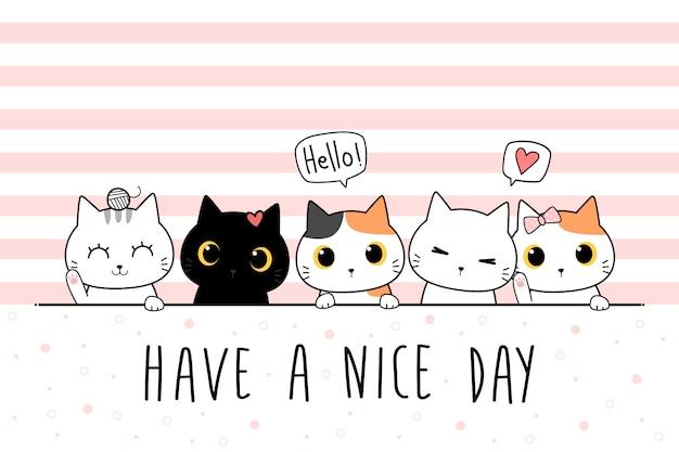 Copertura sveglia della carta da parati di scarabocchio del fumetto di saluto della famiglia del gattino del gatto Vettore Premium