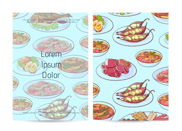 Copertura tailandese del menu del ristorante dell'alimento con i piatti asiatici Vettore Premium