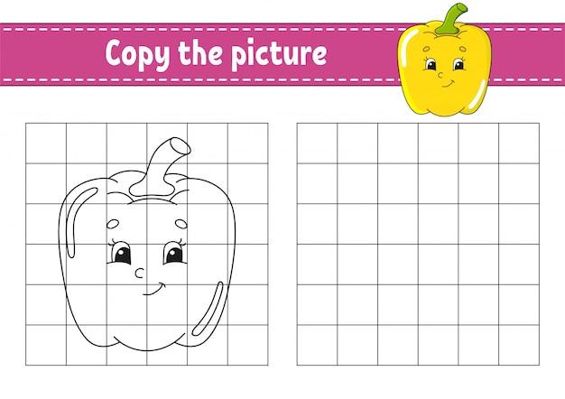 Copia l'immagine. pagine di libri da colorare per bambini. Vettore Premium