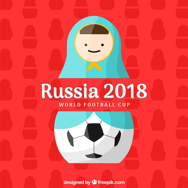 Coppa da calcio 2018 con matrioska Vettore gratuito