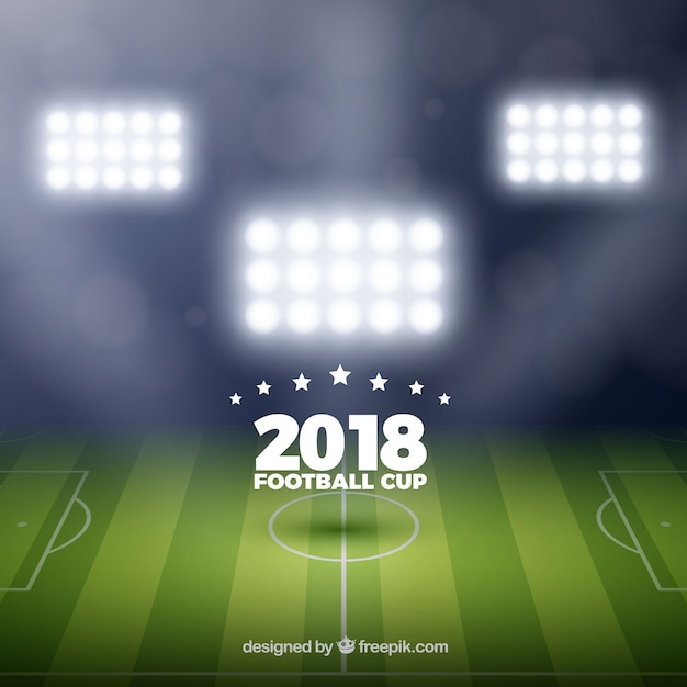 Coppa del mondo di calcio 2018 sfondo in stile realistico Vettore gratuito
